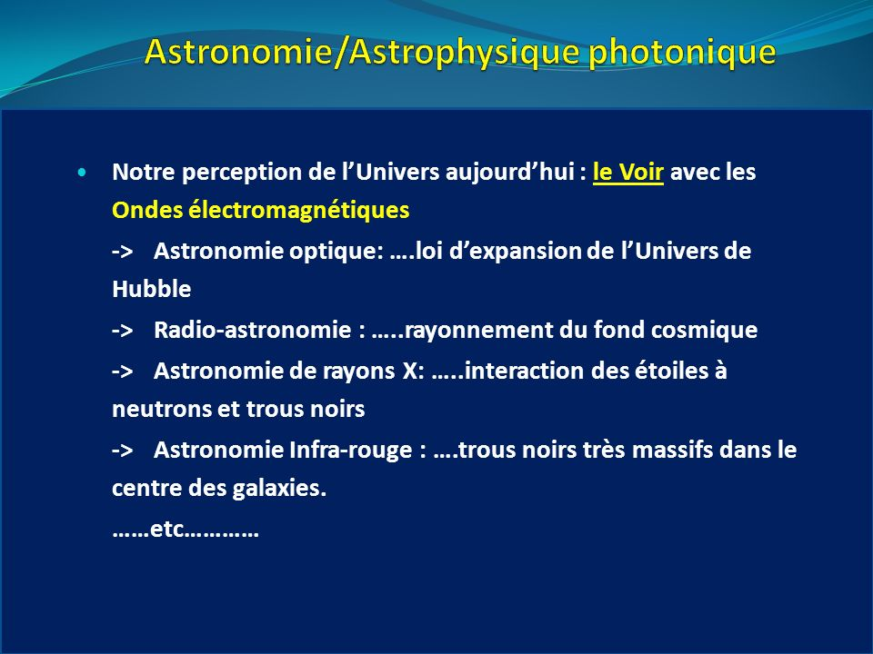 Astronomie/Astrophysique photonique