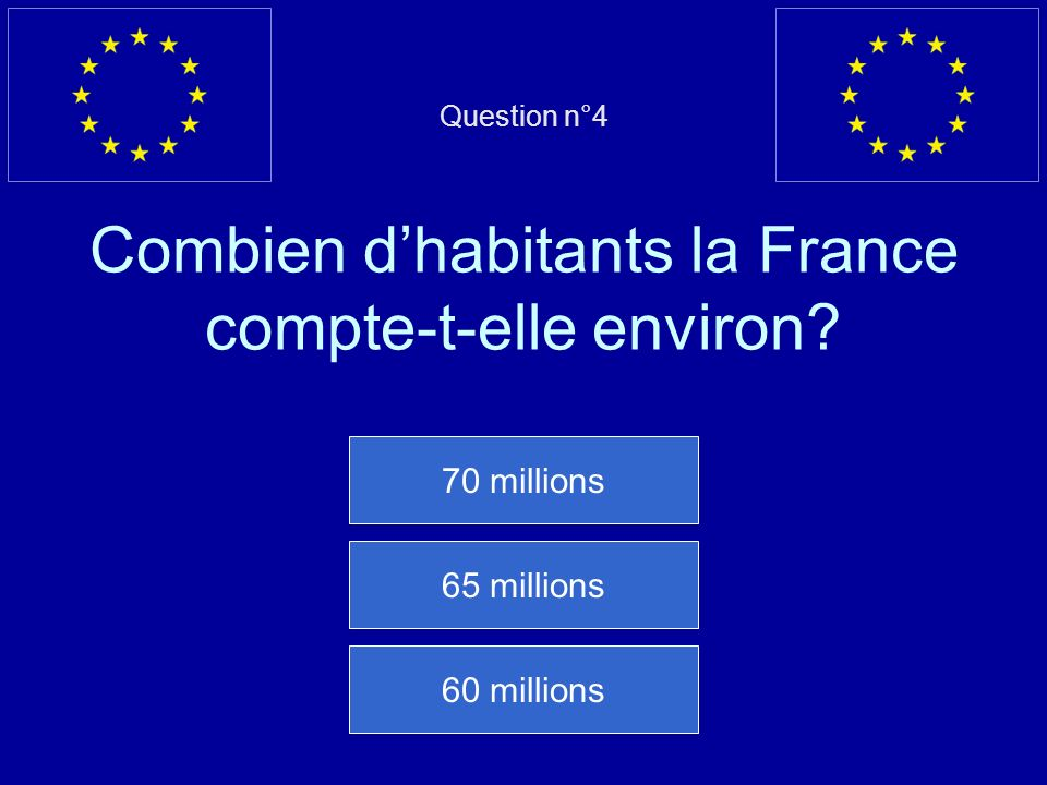 Question n°4 Combien d'habitants la France compte-t-elle environ