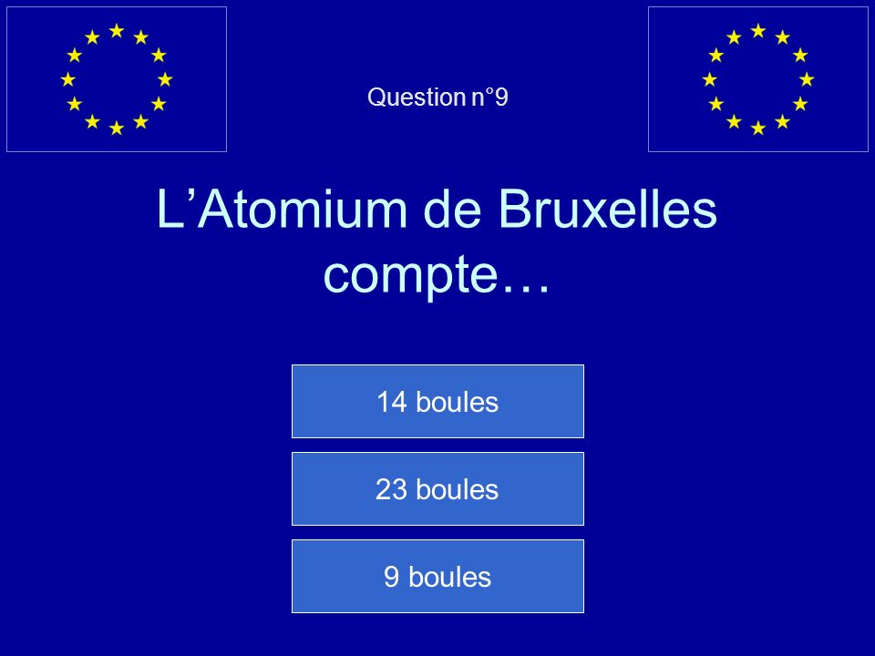 Question n°9 L'Atomium de Bruxelles compte…