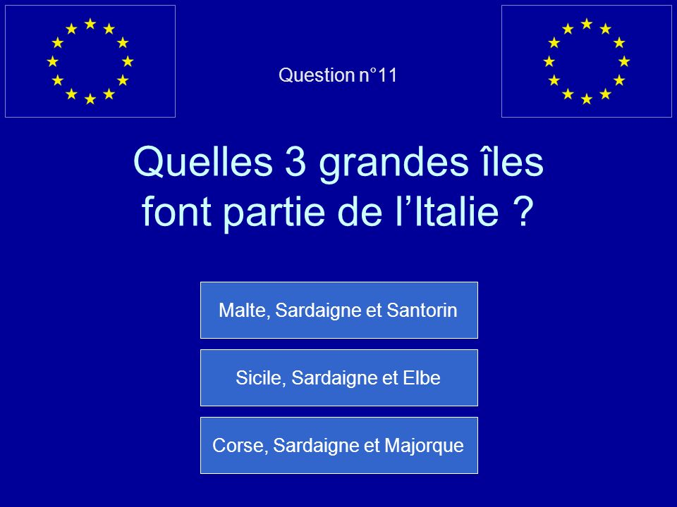 Question n°11 Quelles 3 grandes îles font partie de l'Italie
