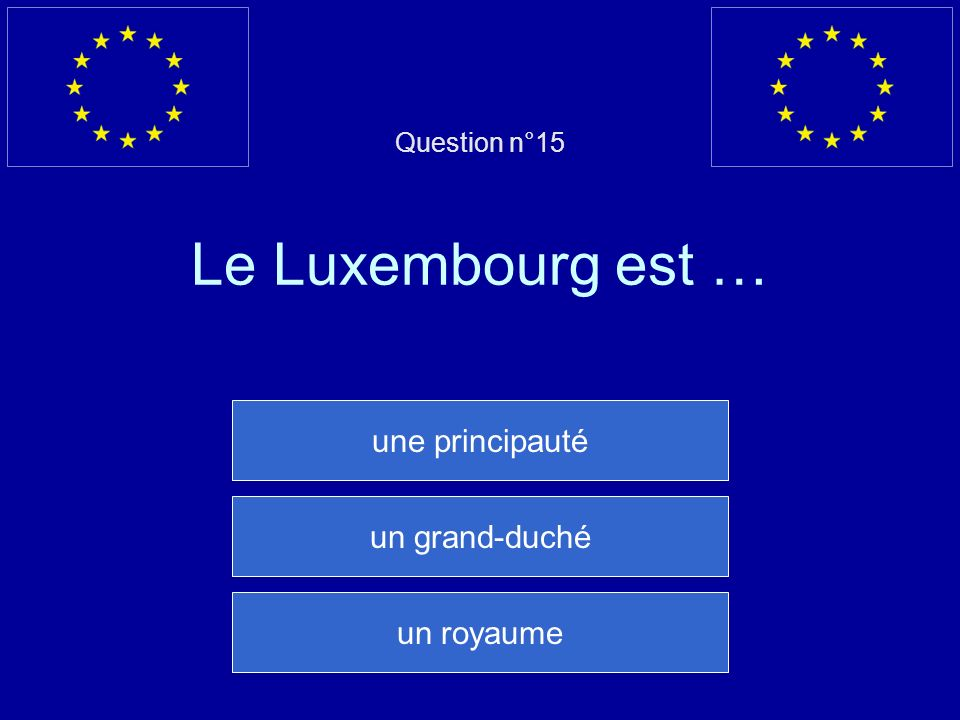 Question n°15 Le Luxembourg est …