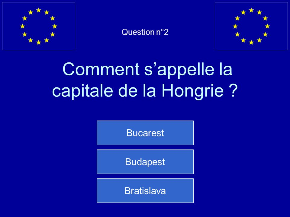 Question n°2 Comment s'appelle la capitale de la Hongrie