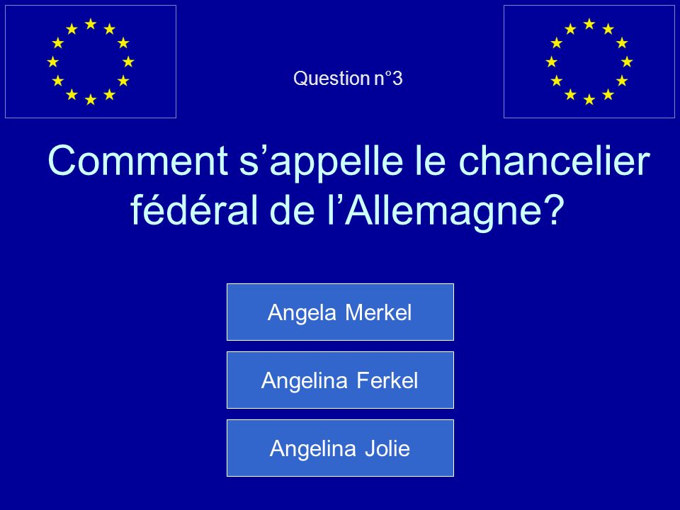 Question n°3 Comment s'appelle le chancelier fédéral de l'Allemagne