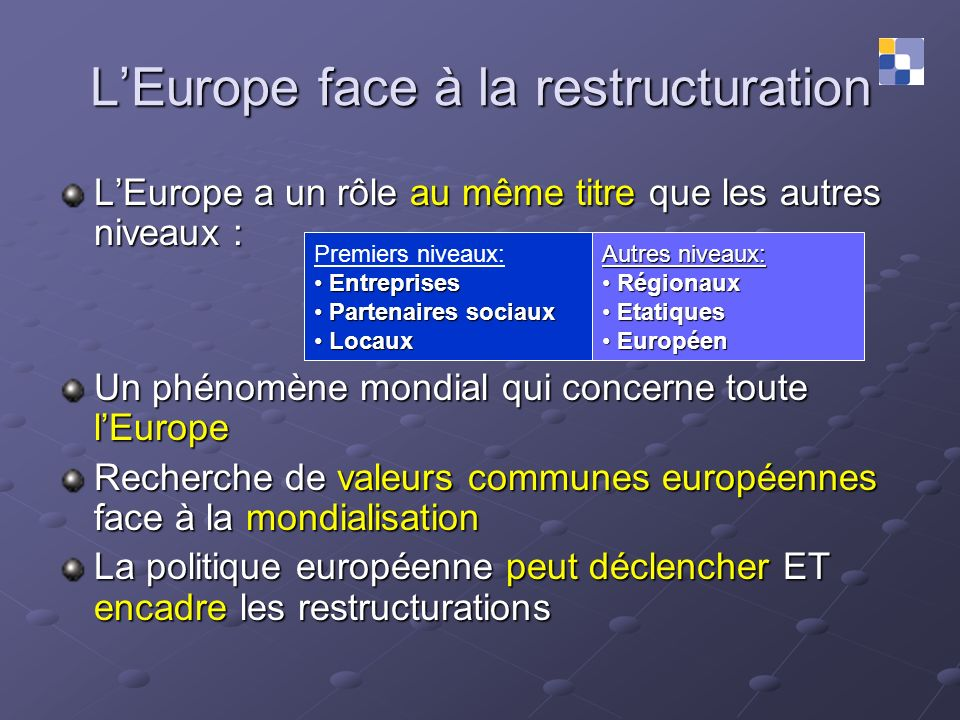 L'Europe face à la restructuration