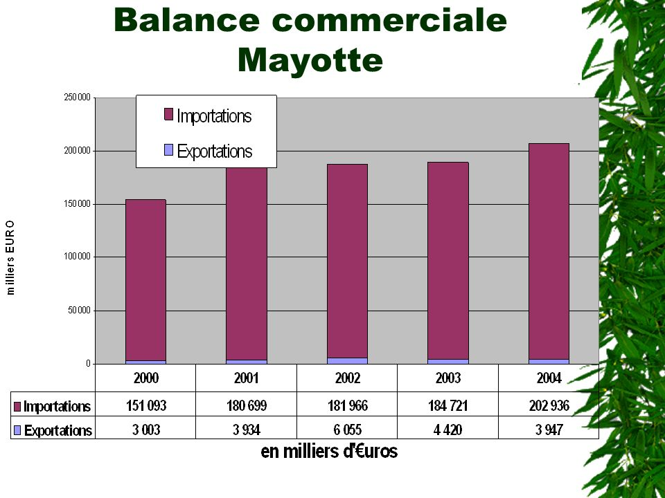 Balance commerciale Mayotte