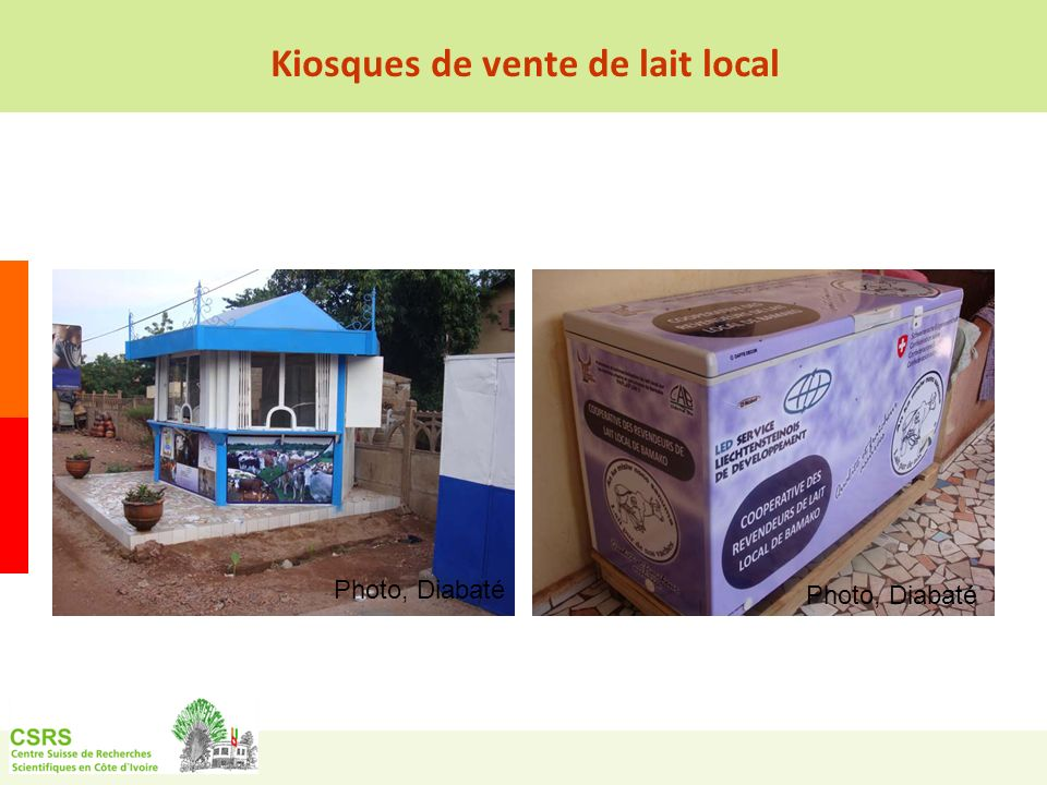 Kiosques de vente de lait local