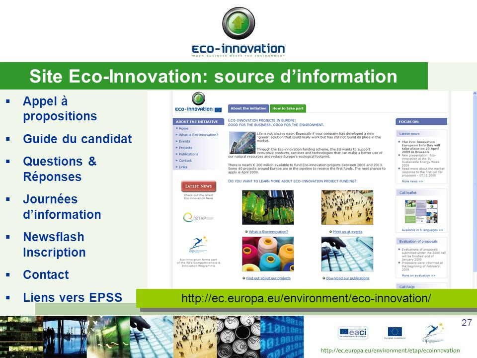Site Eco-Innovation: source d'information