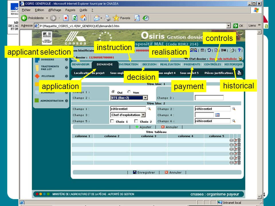 controls instruction applicant selection realisation decision application payment historical