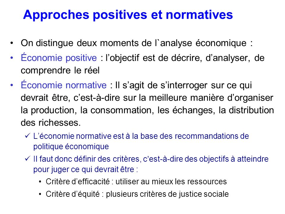 Approches positives et normatives