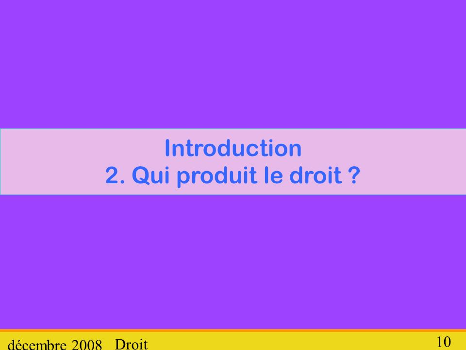 Introduction 2. Qui produit le droit
