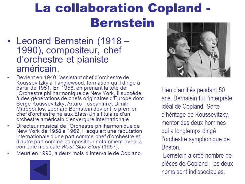 La collaboration Copland - Bernstein