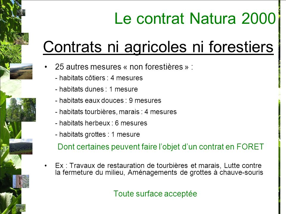 Contrats ni agricoles ni forestiers