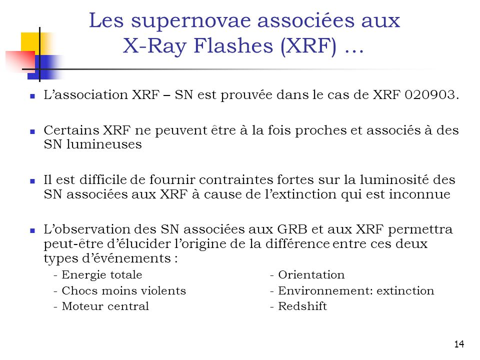 Les supernovae associées aux X-Ray Flashes (XRF) …