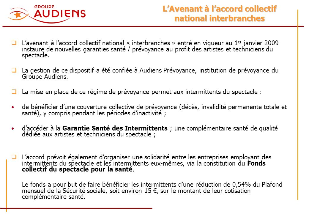 L'Avenant à l'accord collectif national interbranches