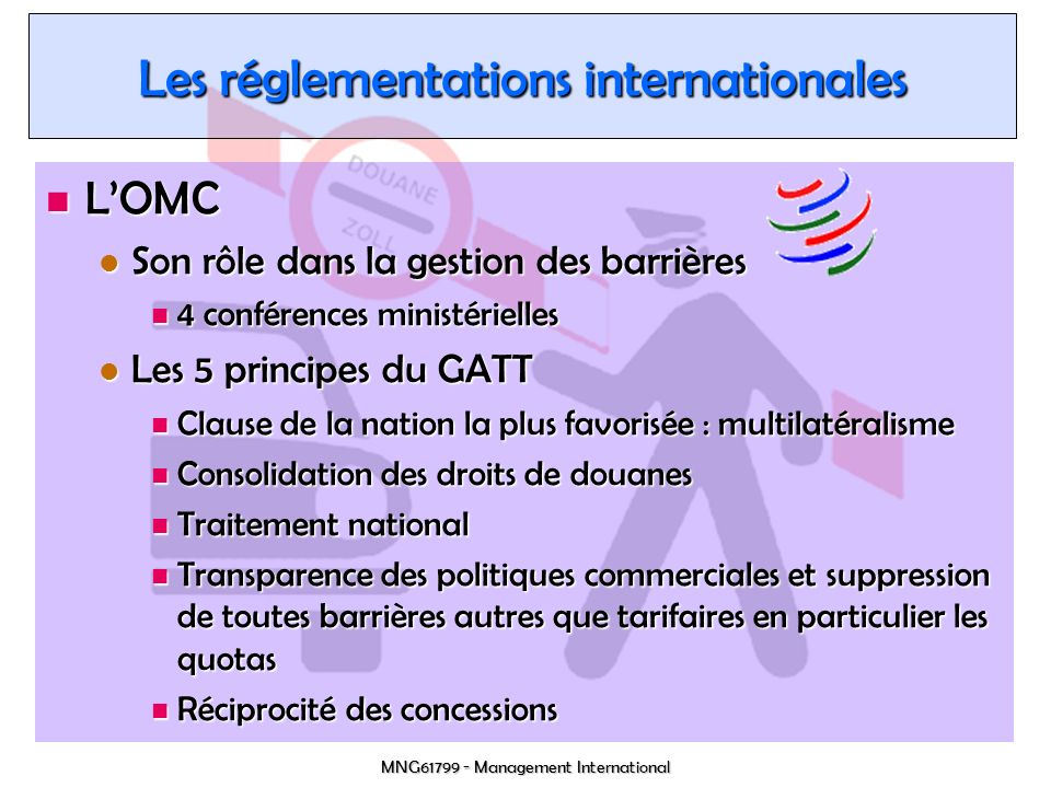 Les réglementations internationales