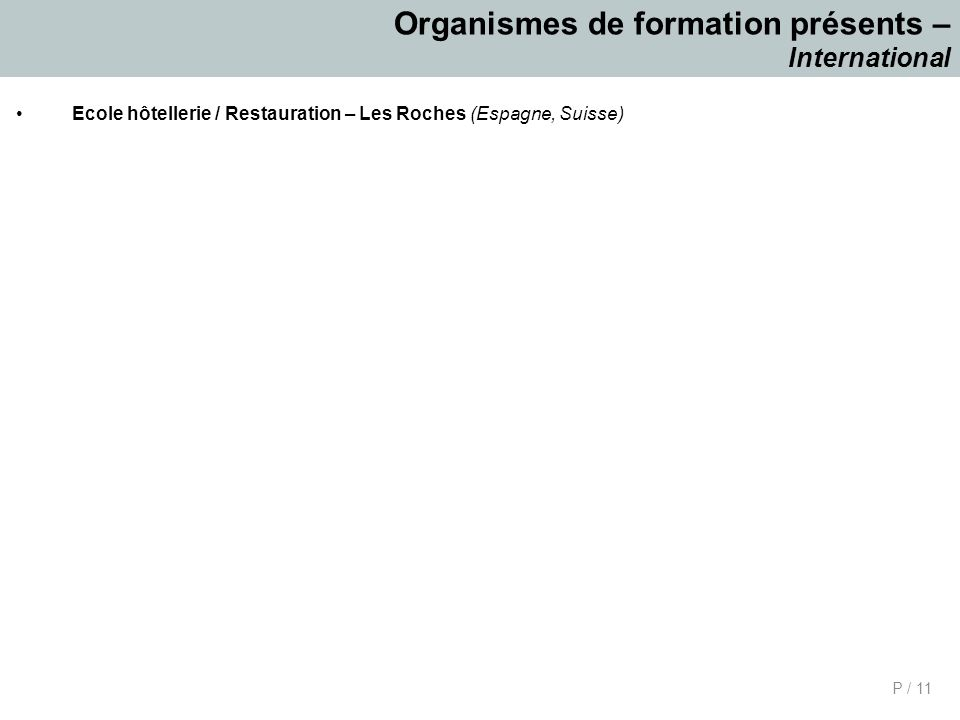 Organismes de formation présents – International