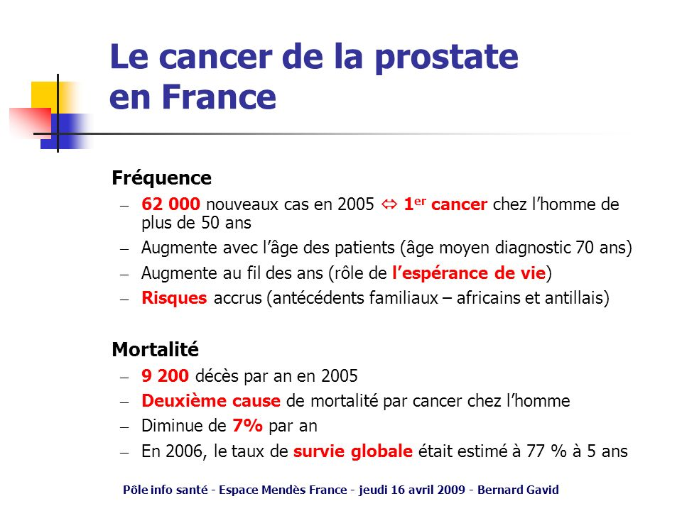 Le cancer de la prostate en France