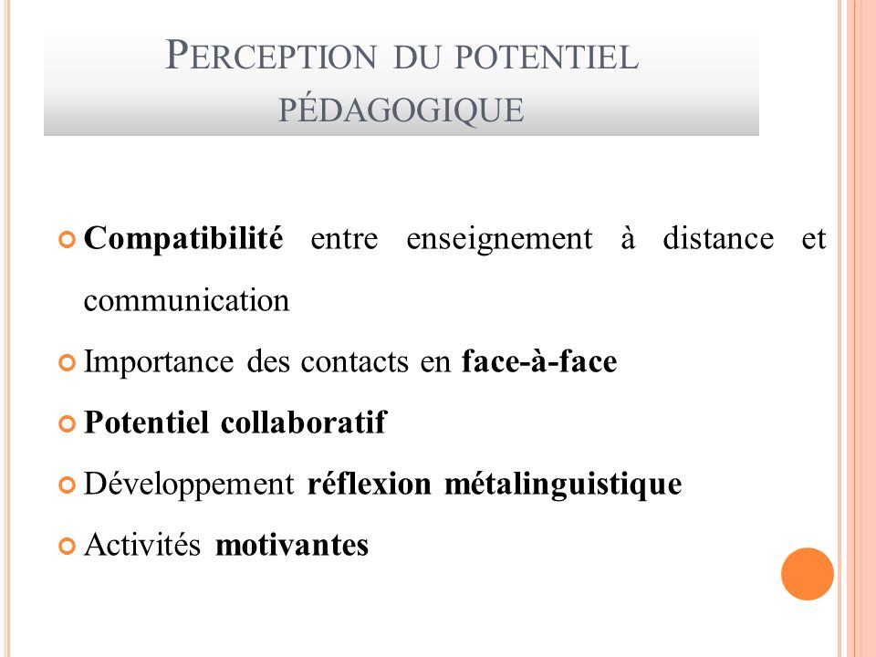 Perception du potentiel pédagogique