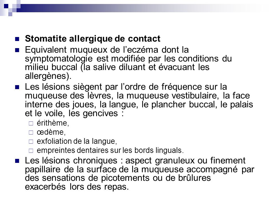 Stomatite allergique de contact