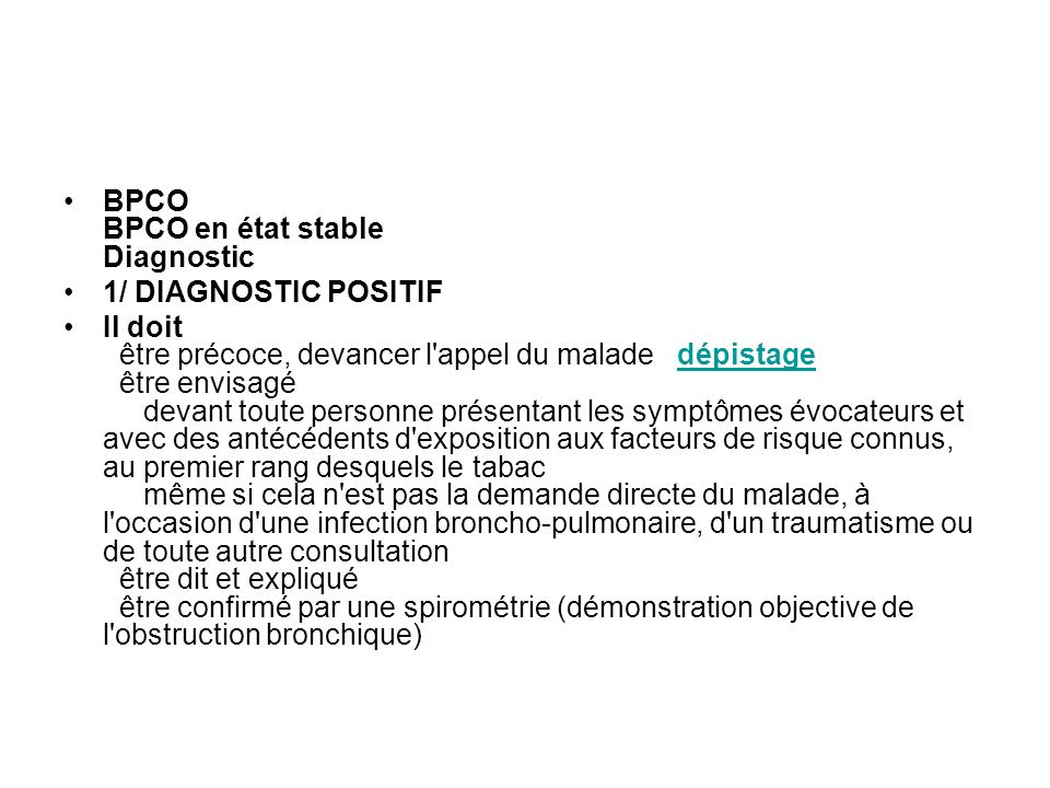 BPCO BPCO en état stable Diagnostic