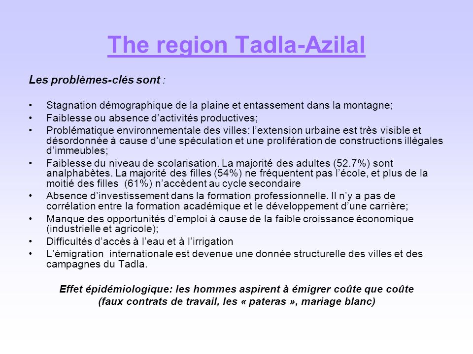 The region Tadla-Azilal