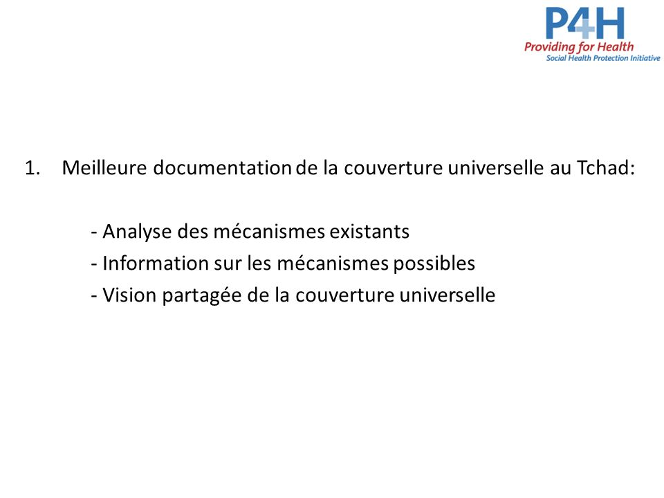 Meilleure documentation de la couverture universelle au Tchad: