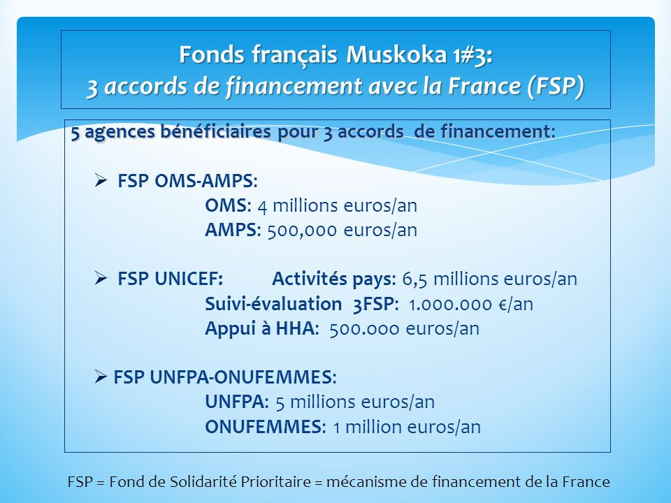 Fonds français Muskoka 1#3: 3 accords de financement avec la France (FSP)