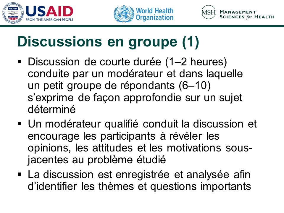 Discussions en groupe (1)