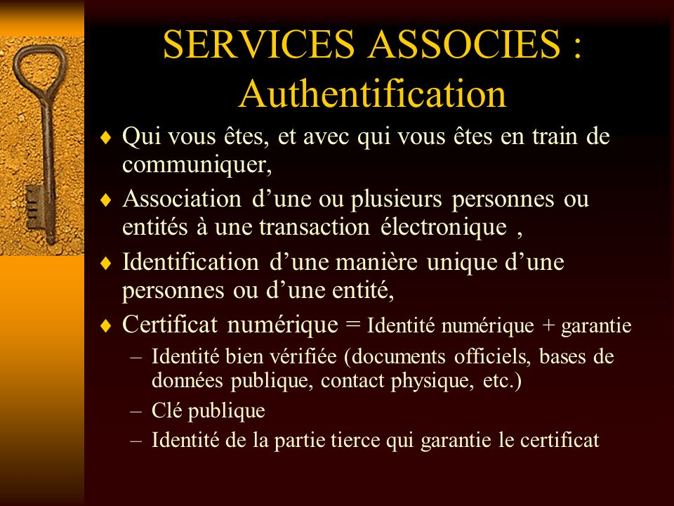 SERVICES ASSOCIES : Authentification