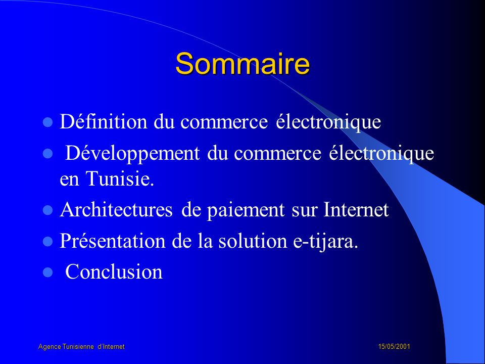 Agence Tunisienne d'Internet 15/05/2001