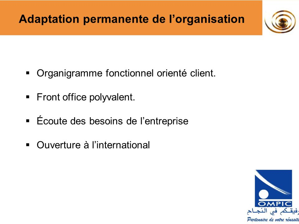 Adaptation permanente de l'organisation