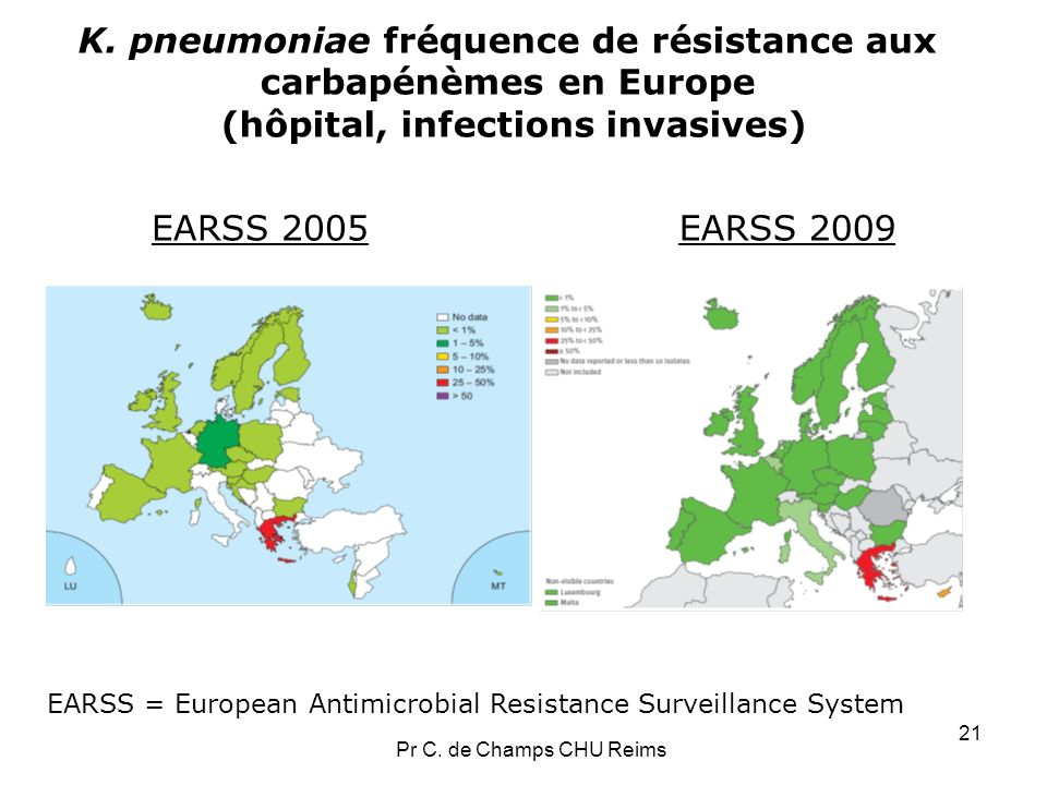 K. pneumoniae fréquence de résistance aux carbapénèmes en Europe (hôpital, infections invasives)