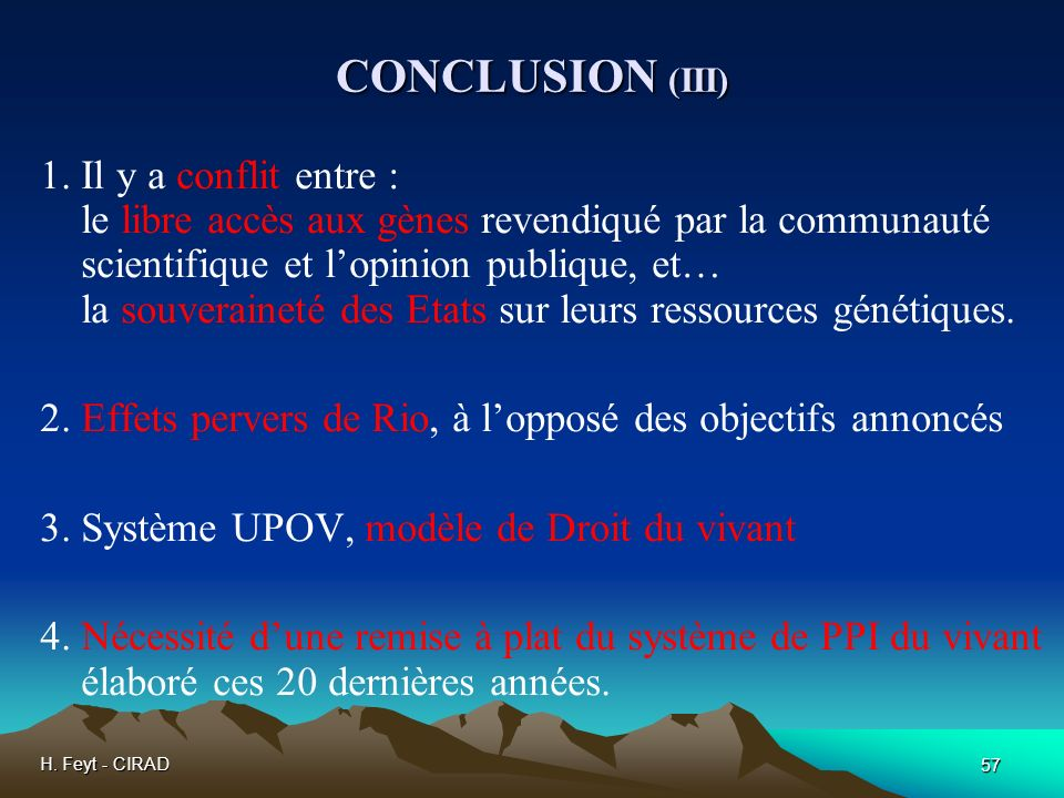 CONCLUSION (III)