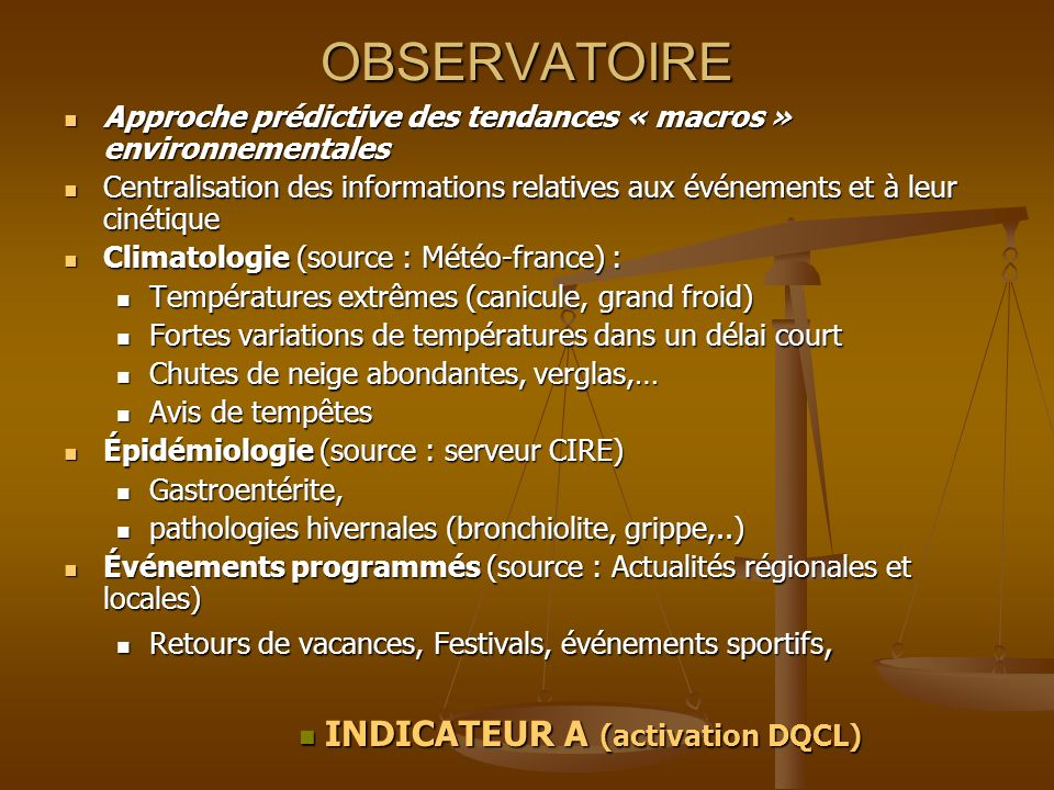 INDICATEUR A (activation DQCL)