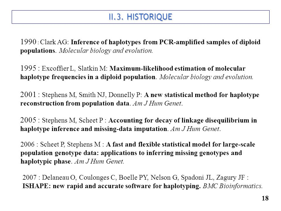 II.3. HISTORIQUE 1990 : Clark AG: Inference of haplotypes from PCR-amplified samples of diploid populations. Molecular biology and evolution.