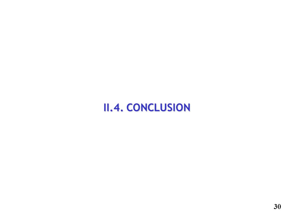 II.4. CONCLUSION 30 30