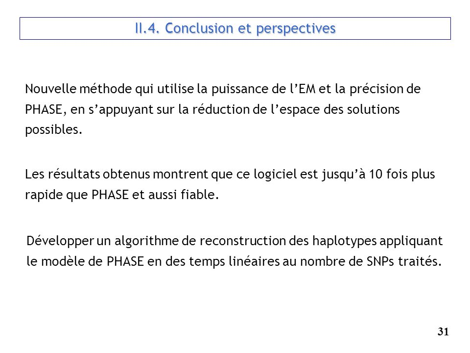 II.4. Conclusion et perspectives