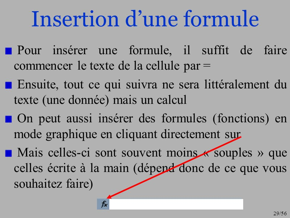 Insertion d'une formule