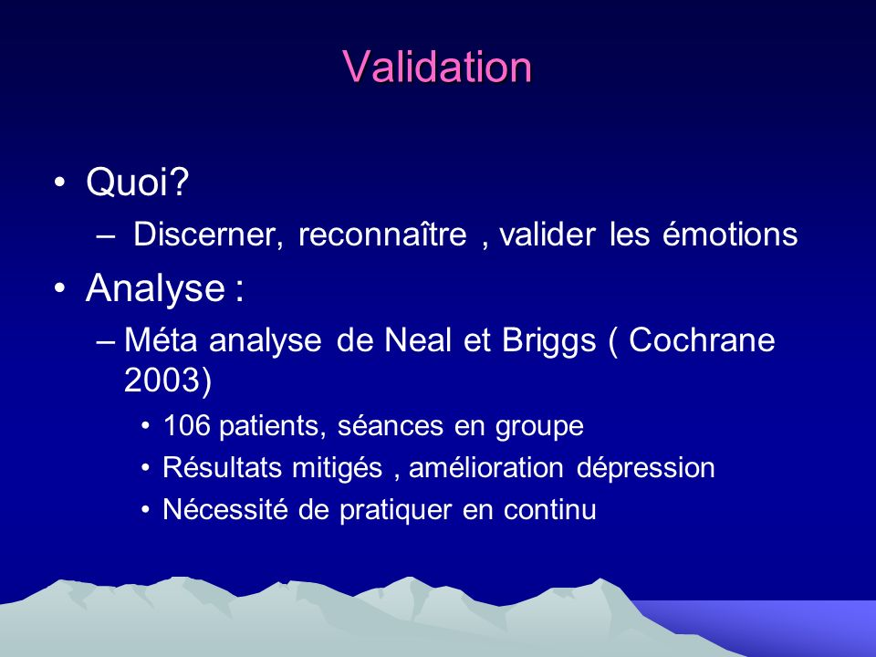 Validation Quoi Analyse :