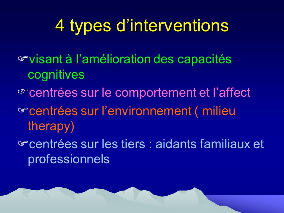 4 types d'interventions