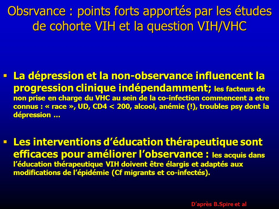 Obsrvance : points forts apportés par les études de cohorte VIH et la question VIH/VHC