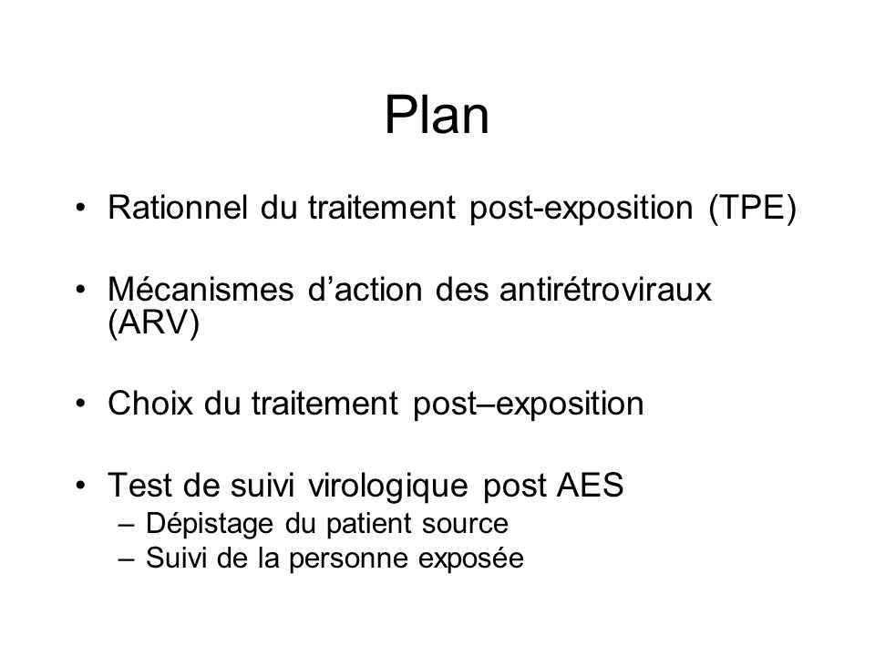Plan Rationnel du traitement post-exposition (TPE)