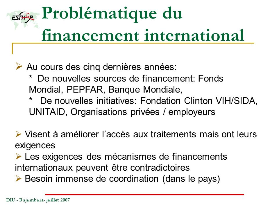 Problématique du financement international