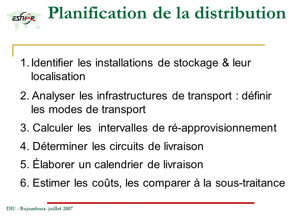 Planification de la distribution