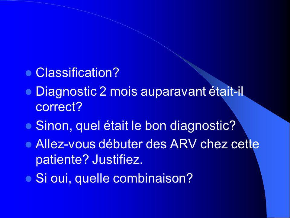 Classification Diagnostic 2 mois auparavant était-il correct Sinon, quel était le bon diagnostic
