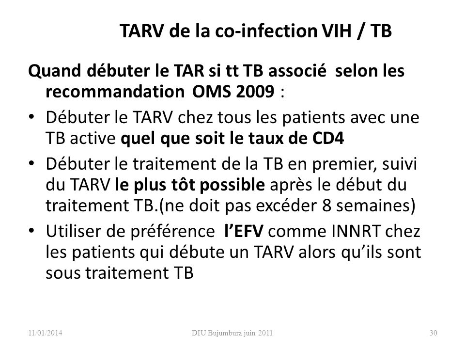 TARV de la co-infection VIH / TB