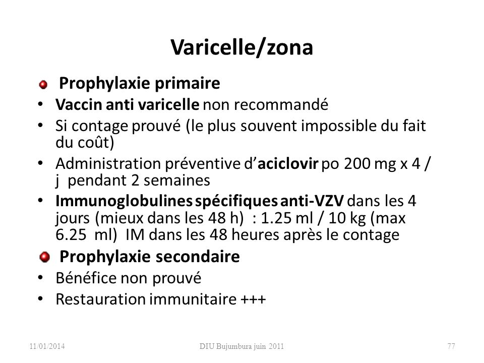 Varicelle/zona Prophylaxie secondaire