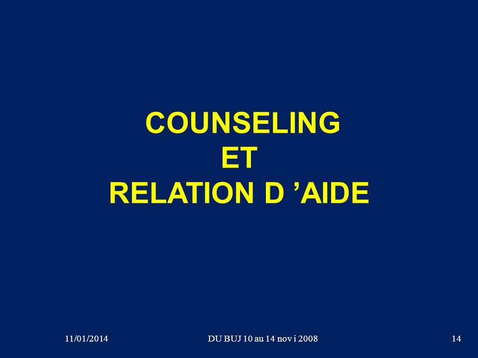 COUNSELING ET RELATION D 'AIDE