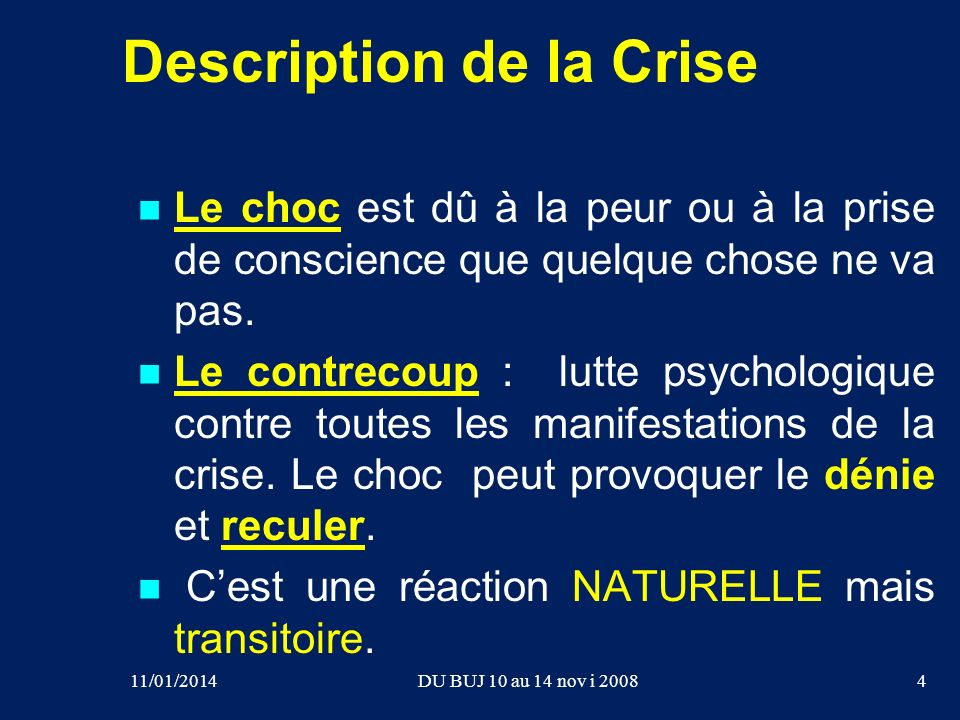 Description de la Crise