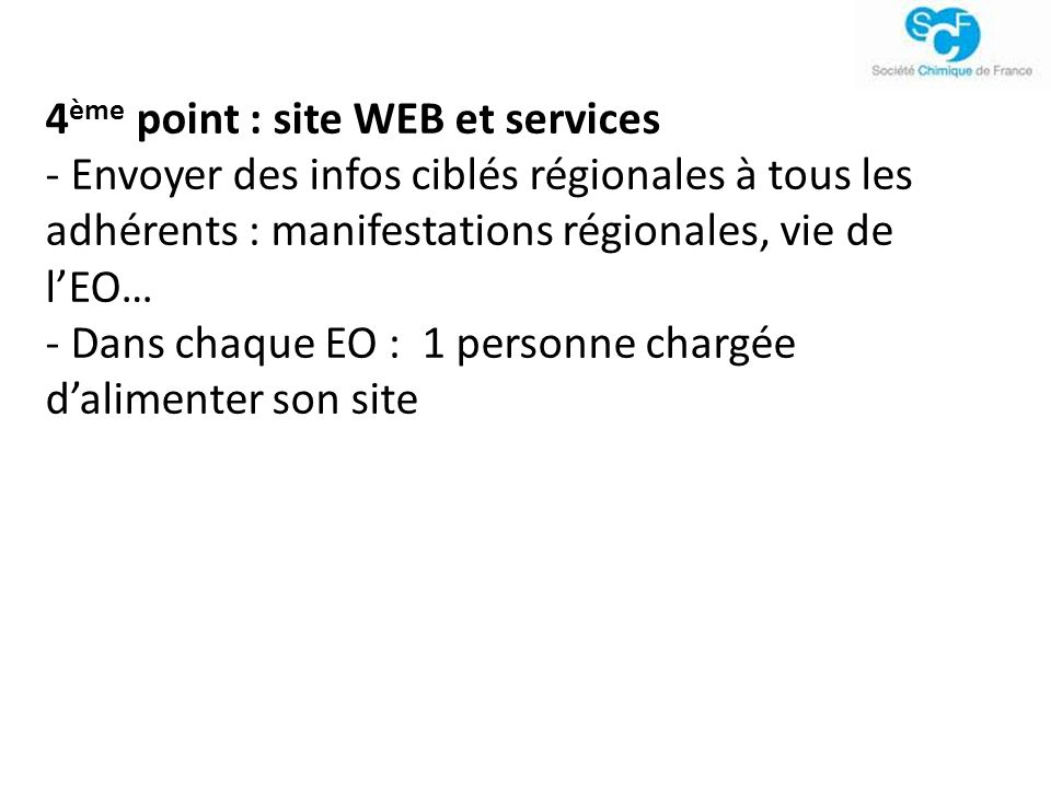 4ème point : site WEB et services